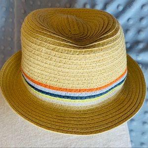 Adorable Infants Woven Straw Fedora Hat w/Ribbon